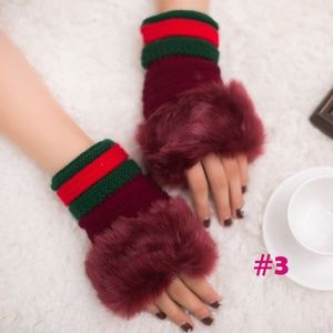 Accessories - MULTIPLE COLOURS!!!  Fur Wool Mittens Gloves